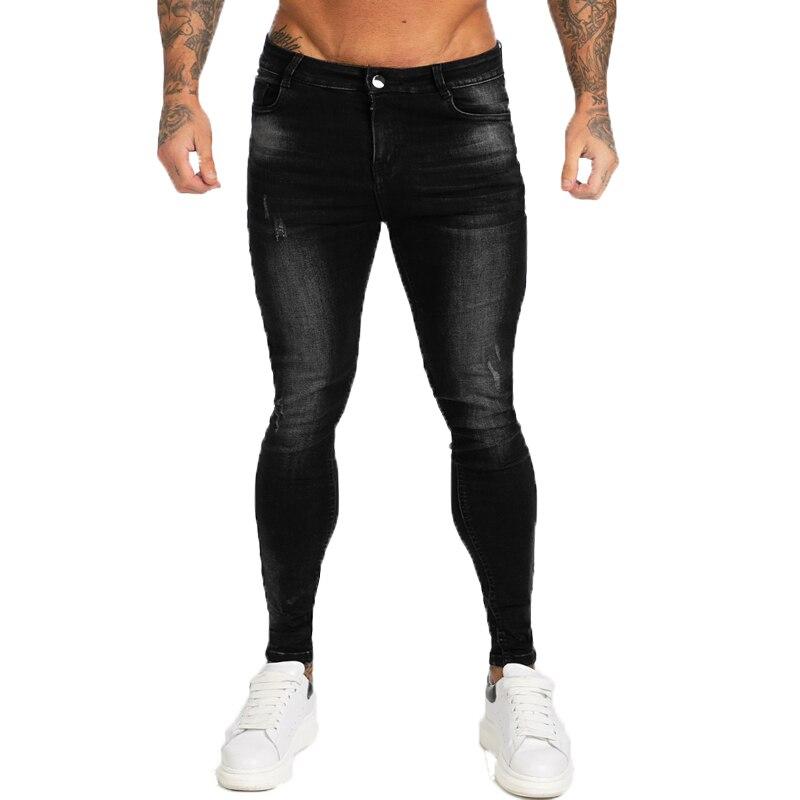 GINGTTO Brand Jeans Men Stretch Pants High Waist Men's Skinny Jeans Black Classic Cotton Denim Comfortable Soft Full Length Zm12