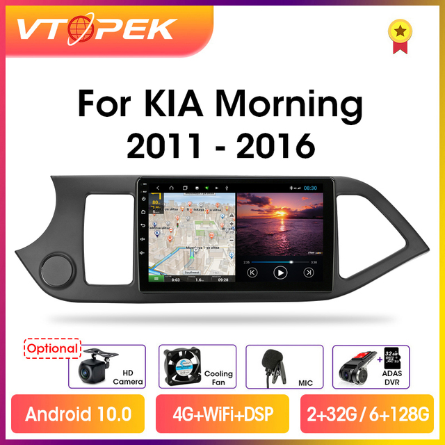 """Vtopek 9"""" 4G+WiFi 2din Android 10.0 Car Radio Multimidia Video Player GPS Navigation DSP RDS For KIA Morning Picanto 2011 2016"""