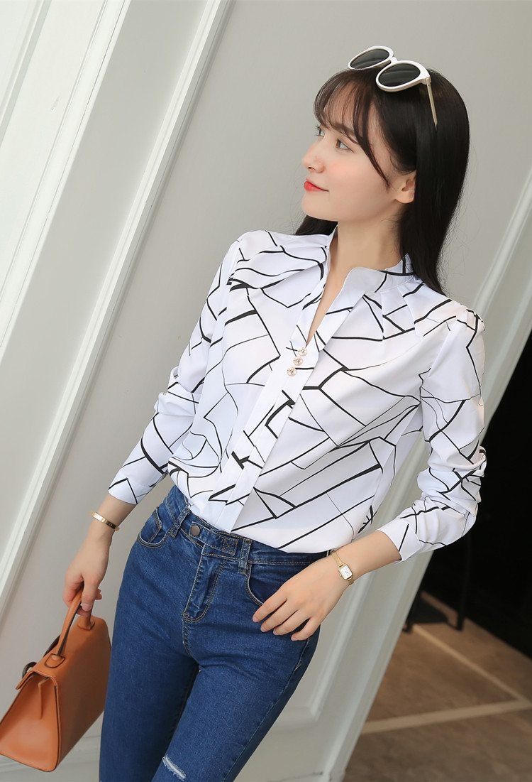 Hbbf5fd61ed9e41bdb48f7214857ebe20o - Women Fashion White Tops and Blouses Stripe Print Design Casual Long Sleeve Office Lady Work Formal Shirts Female Plus Size