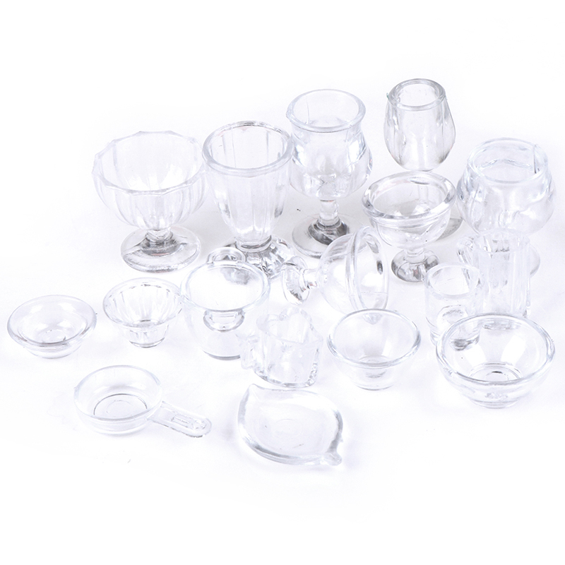 17Pcs/Set Mini Transparent Kitchenware Toy Drink Cups Dish Plate Tableware Miniatures DIY Pretend Play