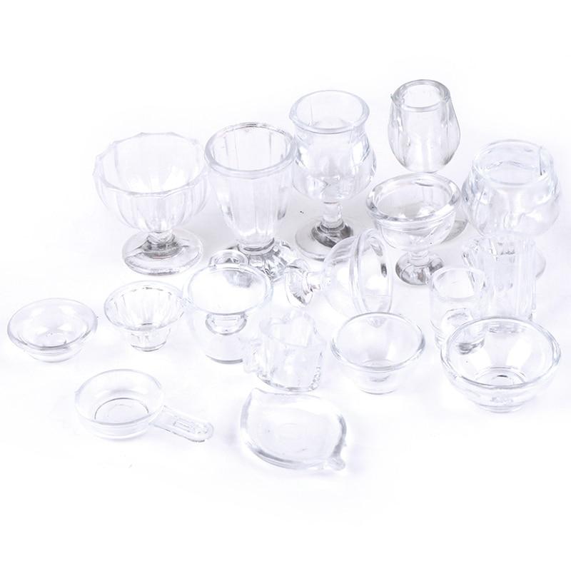17Pcs/Set Mini Transparent Kitchenware Toy Drink Cups Dish Plate Tableware Miniatures DIY Pretend Play