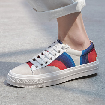 Flat Women Vulcanized Shoes Painted Laces Sneakers Genuine Leather White Sneakers Ladies Student Casual Shoes Rainbow Sneakers