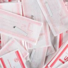 12 핀 영구 메이크업 바늘 수동 눈썹 문신 눈썹 블레이드 12 핀 바늘 Sobrancelha Microblading 50pcs