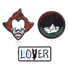 Horror Movie Stephen Kings It Brooch Pins Role Pennywise Figure Ship Enamel Badge For Kids Hallowmas Gifts Jewelry