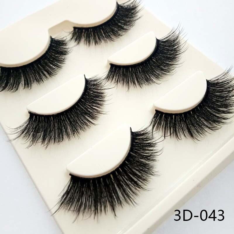 3 pares Charming Mulheres 3D Espessas Naturais Cruz Cílios Postiços Charme Handmade Eye Lashes Maquiagem Beleza Extensão Dos Cílios