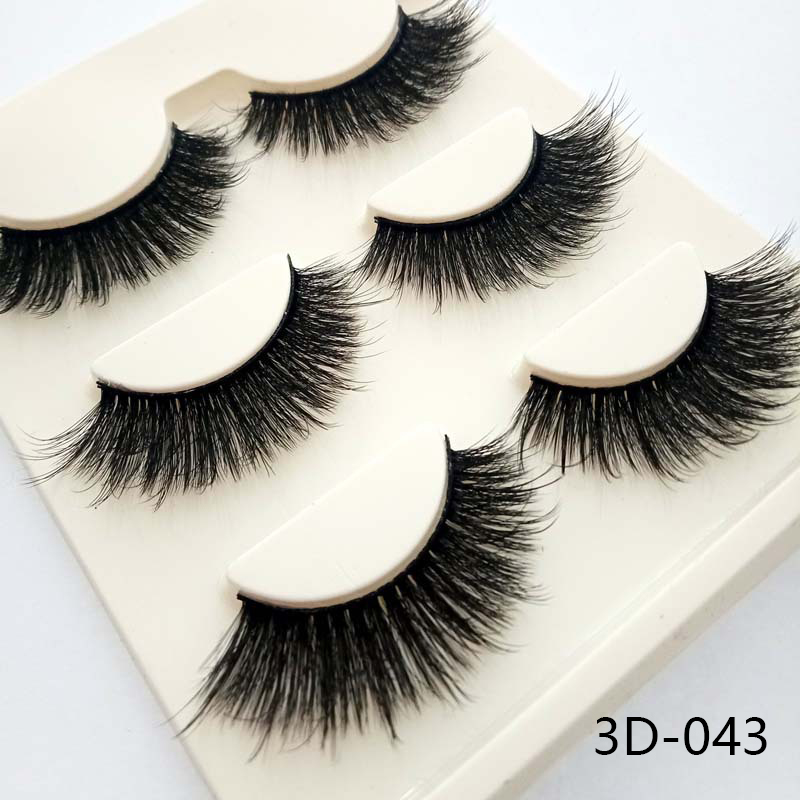 3 Pairs Charming Women 3D Natural Bushy Cross False Eyelashes Charm Handmade Eye Lashes Makeup Beauty Eyelash Extension