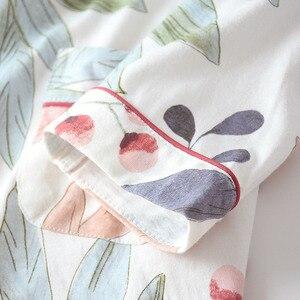 Image 5 - Новый осенний Дамский пижамный комплект с цветочным принтом, хлопковый комплект для сна в свежем Стиле, Женская Повседневная Домашняя одежда с отложным воротником