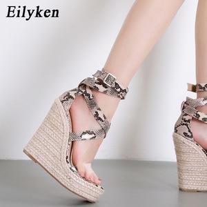 Image 4 - Eilyken Mới Rắn Nữ Mùa Hè Nền Tảng Dép Mở Giày Cao Gót Đế Xuồng Mắt Cá Chân, Khóa Dây Giày Plus Size 35 42