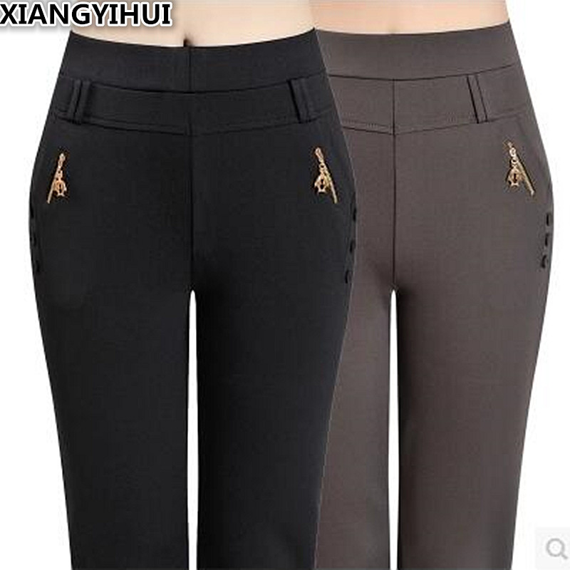 The Elderly Female Clothing And Cotton Trousers Mother Warm Season And Thicken The Elastic Waist Grandma Pants 0380