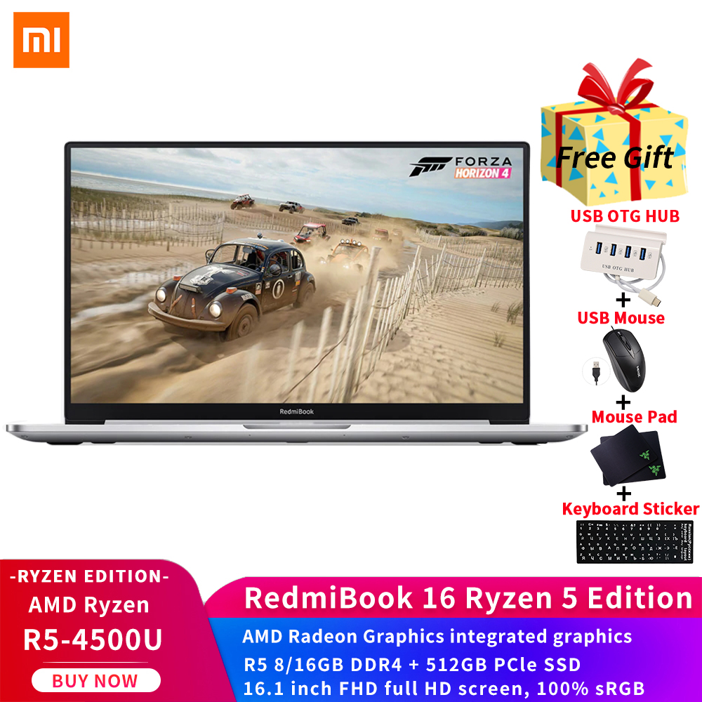 Xiaomi RedmiBook 14 II Laptop Intel Core i7-1065G7 MX350 GPU 16G DDR4 512GB SSD 14inch FHD Screen 1080p Ultra-thin Mi Notebook