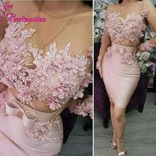 Розовые короткие вечерние платья 2020 кружевные аппликации бисером