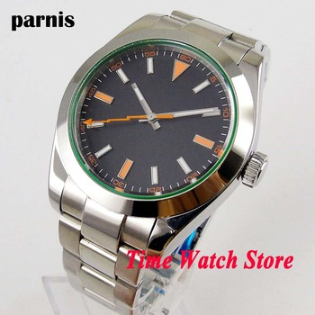 Parnis 40mm Miyota 8215 Automatic men's watch sapphire glass black strile dial luminous waterproof flash hand SS bracelet