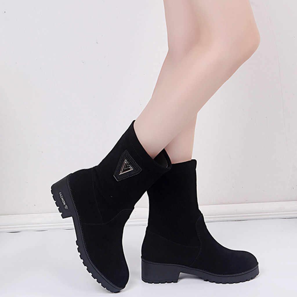 Botas de media pantorrilla abrigadas a la moda de terciopelo para mujer zapatos de suela de felpa de piel caliente para mujer botas de invierno