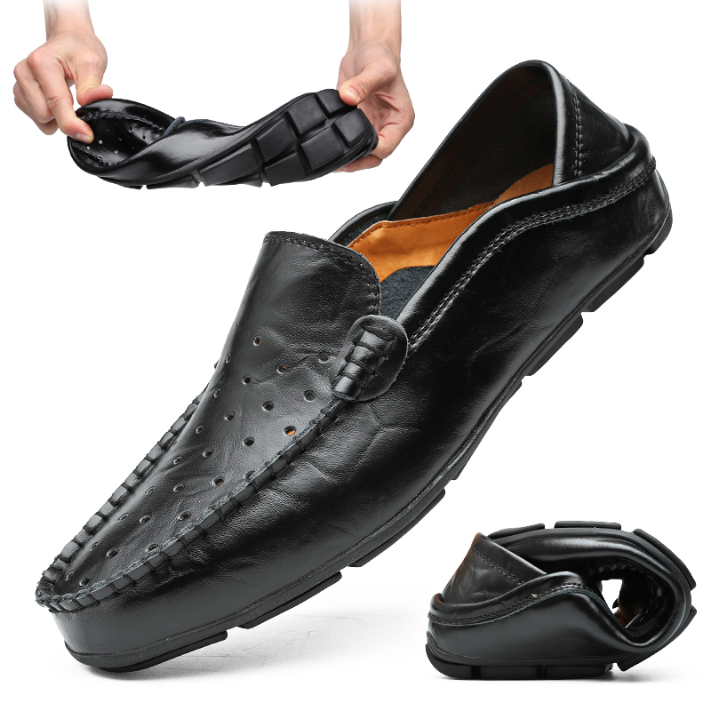Casual Men Loafers Shoes Summer Hollow Leather Moccasins Sneakers Male Soft Slip-On Shoes Chaussure Homme Men Flats Shoes 38-47#