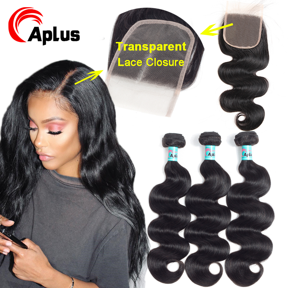 Body Wave Transparent Lace Closure Brazilian Hair Weave 3 Bundles With Lace Closure Free Part 100% Human Hair Extension Bundles