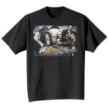 2020-2021 Новинка, художественные мужские гангстеры, играющие в покер, топы, футболки, лицо крестного отца, черная футболка с графикой