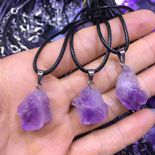 Natural amethyst rough stone pendant with natural stones