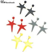 Серьги красная черная звезда кулон Модные Акриловые серьги для