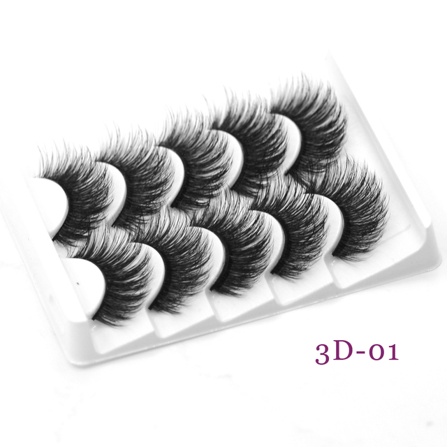 DamePapil 5 Pairs/Set Faux Mink Full Strip 16/18/20mm Lashes Hand Made Soft Natural 3d/5d/6d/8d False Eyelashes for Makeup