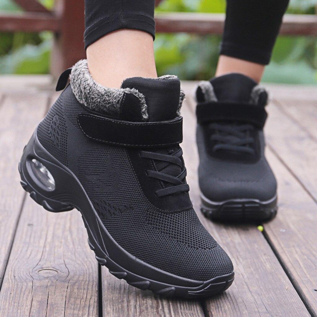 Женские теплые кроссовки; зимняя уличная Нескользящая спортивная обувь из сетчатого материала с плюшевой подкладкой; повседневная спортив