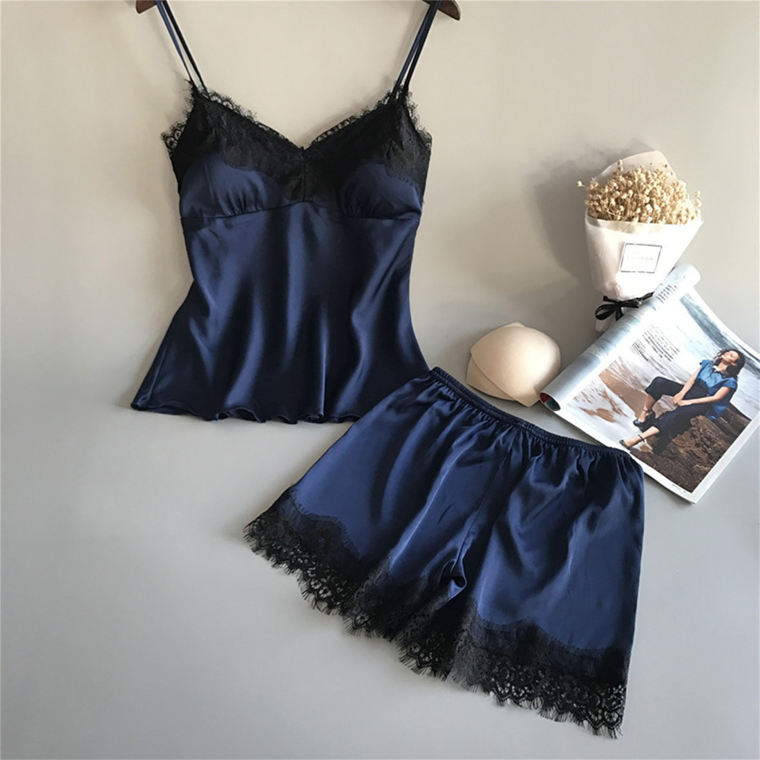 Women Nightwear Sleeveless Sleepwear Women Pajama Set Casual Home Clothes Sexy Lace Lingerie Solid Crop Top + Shorts