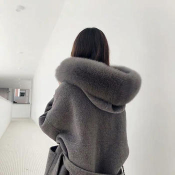 Brand famous Real Cashmere wool Coat With natural Fox Fur Trim Hoodie  ladies real fur Coats Outwear 4
