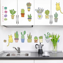 Cactus Cats Macarons Wall Stickers For Living Room Dinner Decoration PVC DIY Home Kitchen Decor Mural Art Plants Decal
