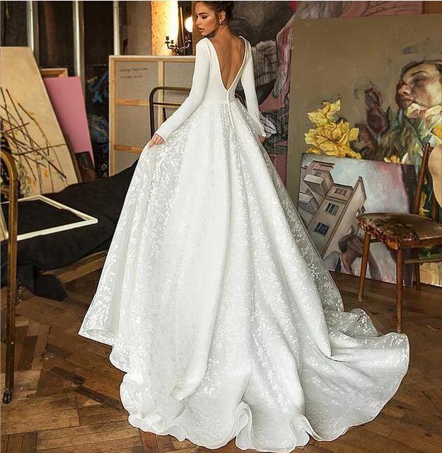Booma Lace Wedding Dress 2019 Long Sleeve V-neck Boho Bridal Gowns Satin Backless White Vestido de noiva Plus size custom 2