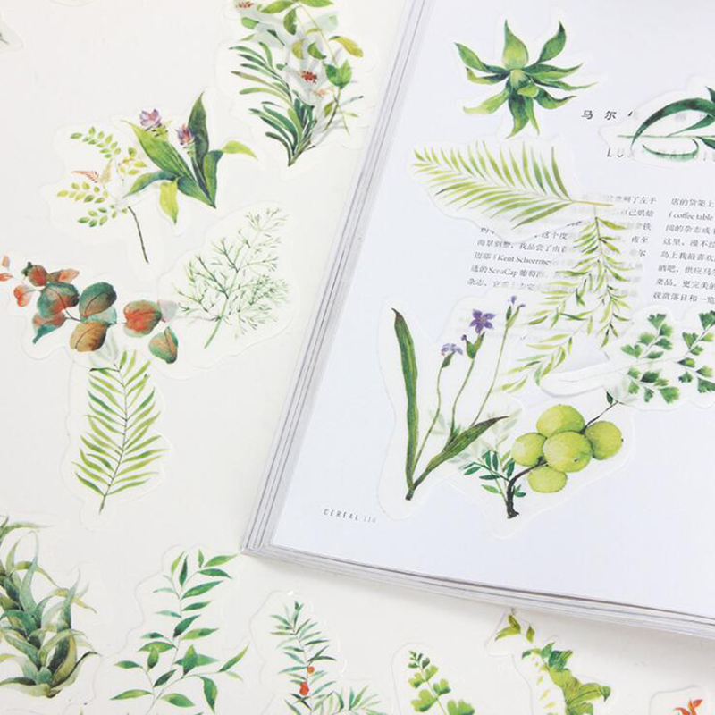 34pcs / Set Of Green Plant Material Sticker Pack Creative Diary Travel Album Decoration Sticker Office Stationery Supplies Gift