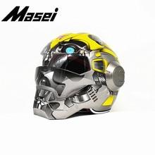 Masei Iron Man helmet motorcycle Vintage Retro Bumblebe open face casque Motocross Off Road Touring