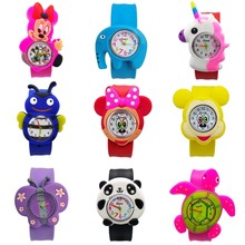 1pcs/lot free shipping High Quality silicone slap watch, kids slap watches Dogs team children watch, girls boys students clock(China)