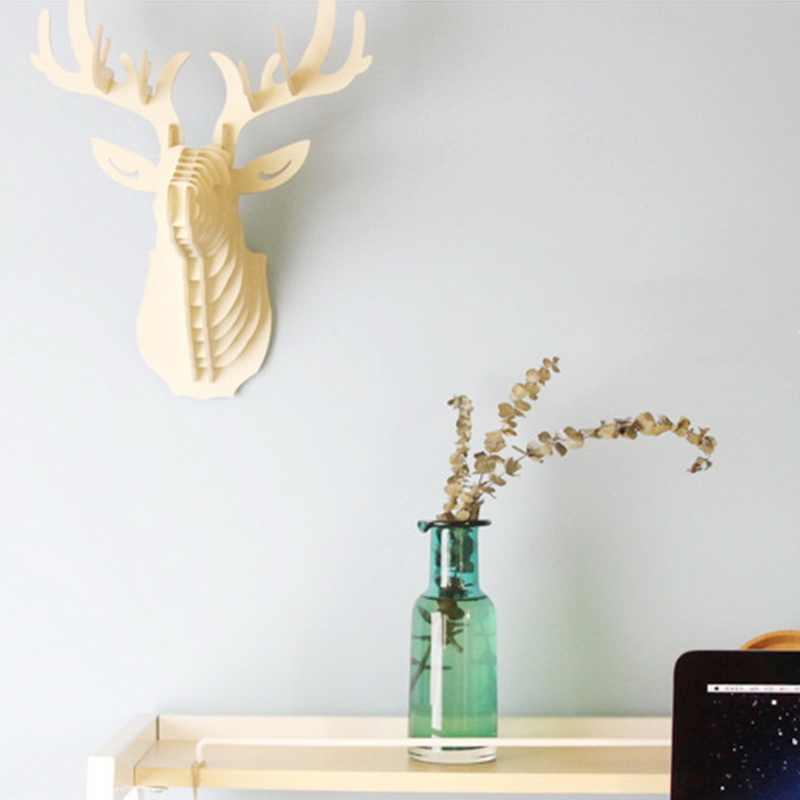 Dozzlor 3D ไม้สัตว์ Deer HEAD Art รุ่น Home Office ตกแต่งแขวนผนังผู้ถือเก็บ Racks ของขวัญ CRAFT Home Decor