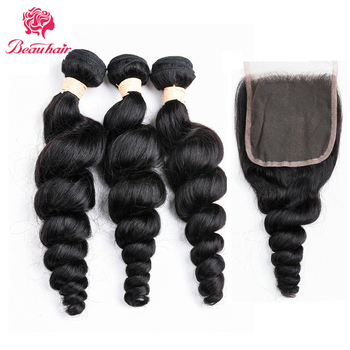 Beau Hair Loose Wave Human Hair Bundles With Closure Three/Middle/Free Part 3Pcs Malaysian Hair Extensions With Closure Non Remy