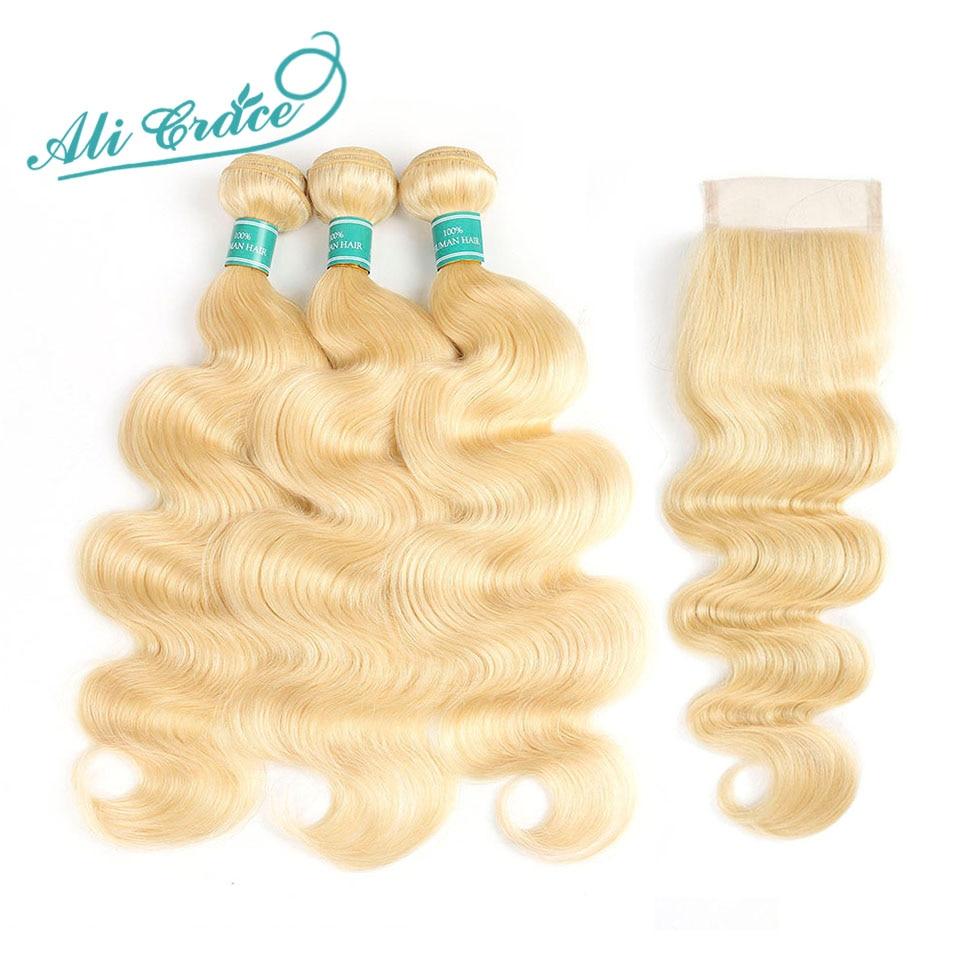 Ali graça cabelo loiro onda do corpo 3 pacotes com fechamento 100% remy cabelo humano onda do corpo cabelo com fechamento 613 louro completo