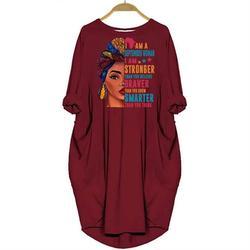 100% algodão vestido eu sou um spetember mulher eu sou mais forte letras imprimir bolso vestido praia vintage maxi vestidos zanzea floral