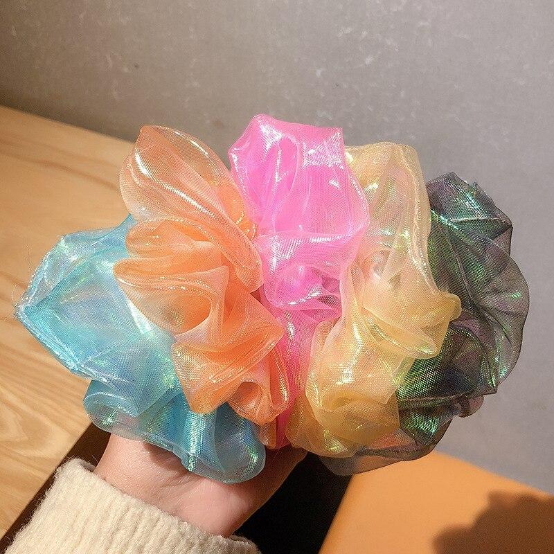 Яркие блестящие резинки из органзы, женские резинки для волос, эластичные резинки для волос, резинки для волос для девочек, милые резинки дл...