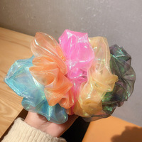 Bright Color Organza Shiny Scrunchies Women Scrunchie Elastic Hair Bands Girls Headwear Rubber Hair Ties Cute Ponytail Holder