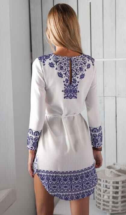 Новые продукты Европа и Америка женское платье цифровая печать синий и белый фарфор с длинными рукавами платье осень