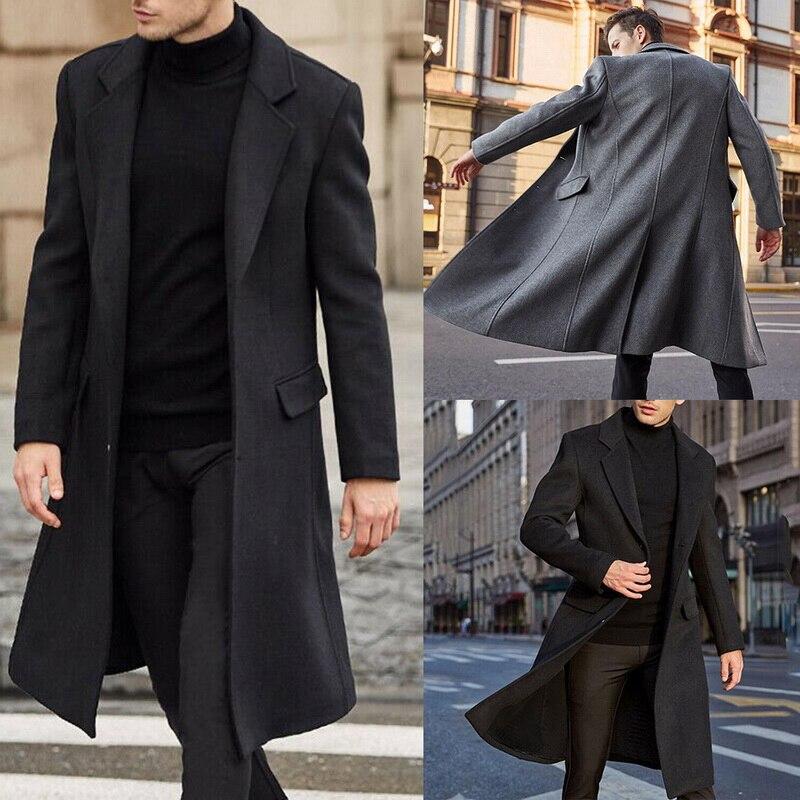 Куртка мужская шерстяная однотонная, флисовая верхняя одежда с длинным рукавом, модный длинный Тренч, уличная одежда, весна-осень-зима