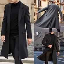 Primavera outono inverno dos homens casacos de lã sólida manga longa casacos de lã dos homens casacos streetwear moda longo trincheira outerwear