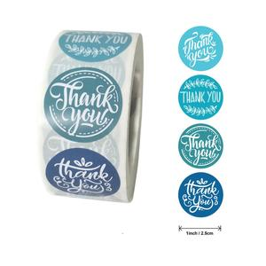 500pcs Red&Blue Colored Thank You Stickers 1 Inch Christmas Seal Label Scrapbooking for Gift Business Card Packaging Stationery