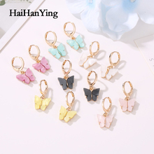 Unique Women Butterfly Earrings Sweet and Colorful Acrylic Animal Earrings Suitable for Women To Wear New Fashion Jewelry luokey 2020 colorful sweet butterfly hoop earrings for women gold silver color simple cute acrylic animal earrings girls jewelry