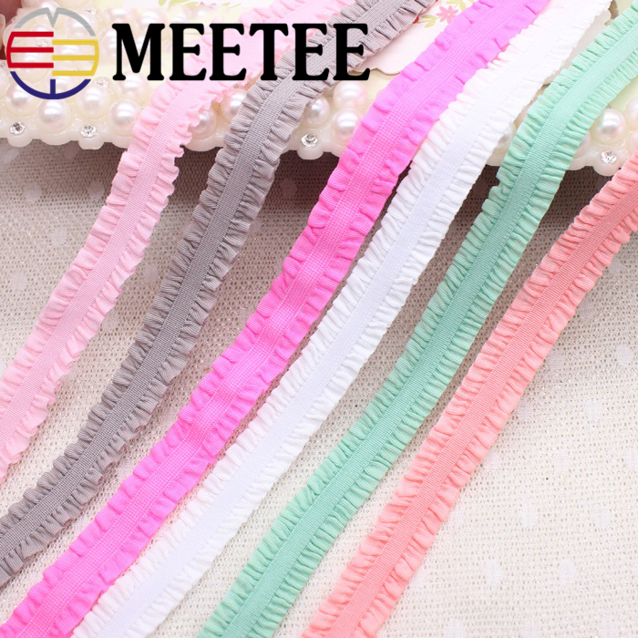 22yards 1.3cm Double Ruffle Stretch Lace Ribbon Trims Folds Elastic Band Sewing DIY Baby Hair Clothing Accessories Material