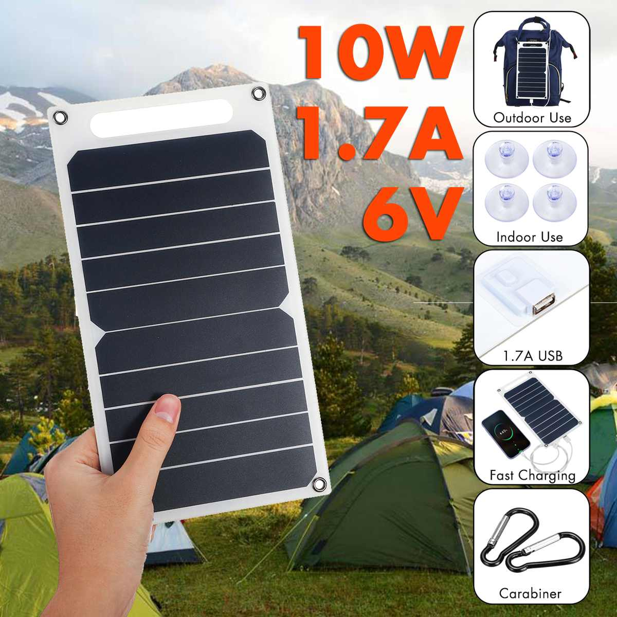 10W 6V Solar Panel Portable Sunpower Solar Cells USB Mobile Phone Photovoltaic Charging Power Bank With Suckers and Carabiner