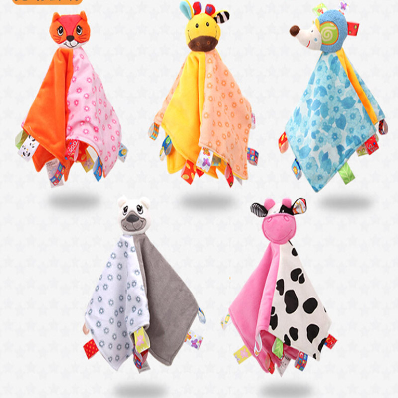 Baby Rattles Toys Cartoon Animals Baby Doll Appease Towel Baby Balnket Wiht Ring Teethers Toys Newborn Baby Sleep Towel