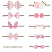 10Pcs Toddler Baby Headband Newborn Girls Pink Bowknot Princess Hairbands Child Kids Cute Headwear Gifts Hair Accessories 0-12M цена