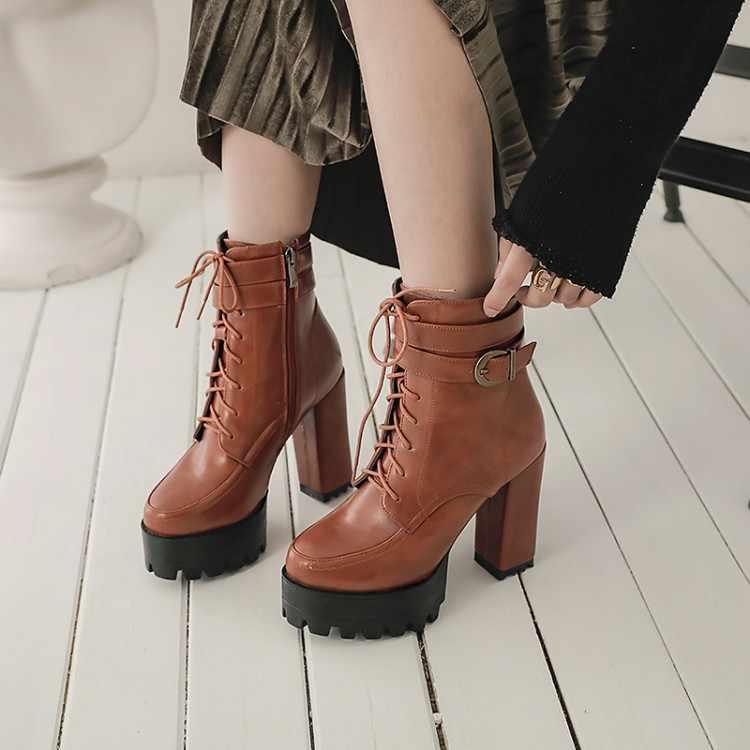 Große Größe 9 10 11 stiefel frauen schuhe stiefeletten für frauen damen stiefel schuhe frau winter Kreuz schnalle seite zipper
