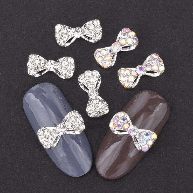 10 шт. 3d из серебряного сплава галстук-бабочка со стразами дизайн ногтей орнамент получили самую низкую цену и белого цвета со стразами DIY акс...