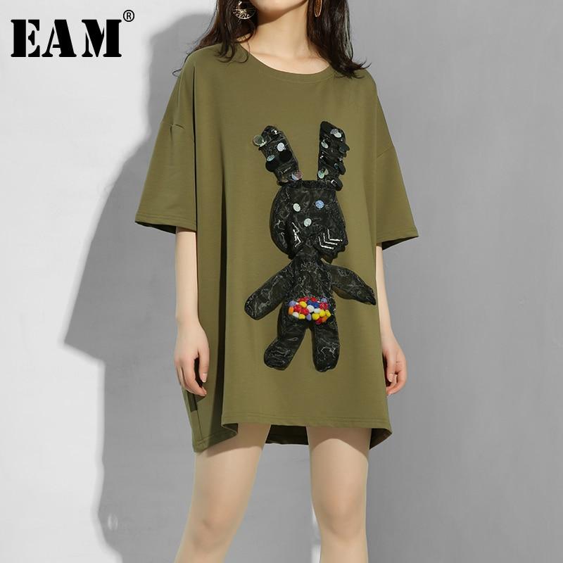 [EAM] 2020 New Spring Summer Round Neck Half Sleeve Organza Split Joint Big Sze Pattern T-shirt Women Fashion Tide JE949