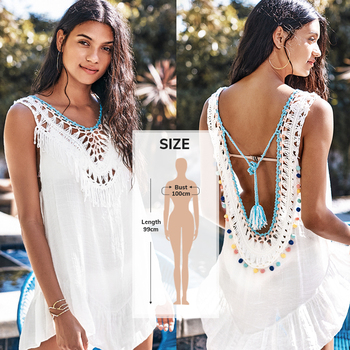 Cupshe Λευκό backless cover up με φούντες .